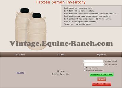 Frozen semen inventory screenshot